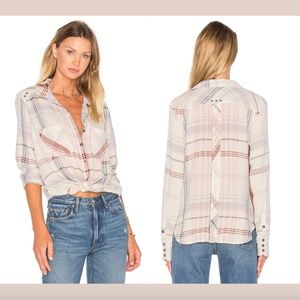 Free People Wesley Plaid Button Down Flannel Top